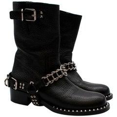 Miu Miu Black Leather Studded Chain Trim Boots - Size 39.5