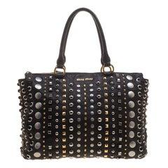 Miu Miu Black Leather Studded Monk Bag
