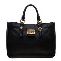 3f7d597ec Miu Miu Black Paillettes Sequin Shopping Tote Argento with Dark ...