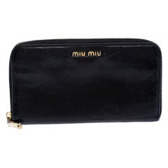 Miu Miu Black Leather Zip Around Wallet