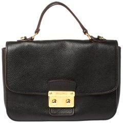 Miu Miu Black Madras Leather Push Lock Flap Top Handle Bag