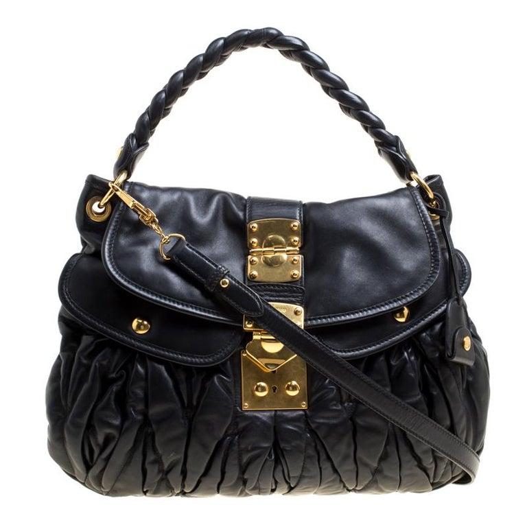 31d2e26e3464 Miu Miu Black Matelasse Leather Coffer Hobo For Sale at 1stdibs
