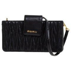 Miu Miu Black Matelasse Leather Crossbody Bag