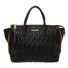 Miu Miu Black Matelassé Leather Side Zip Tote