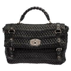 Miu Miu Black Matelasse Leather Turnlock Flap Top Handle Bag