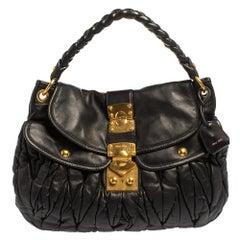 Miu Miu Black Matelasse Lux Leather Coffer Hobo
