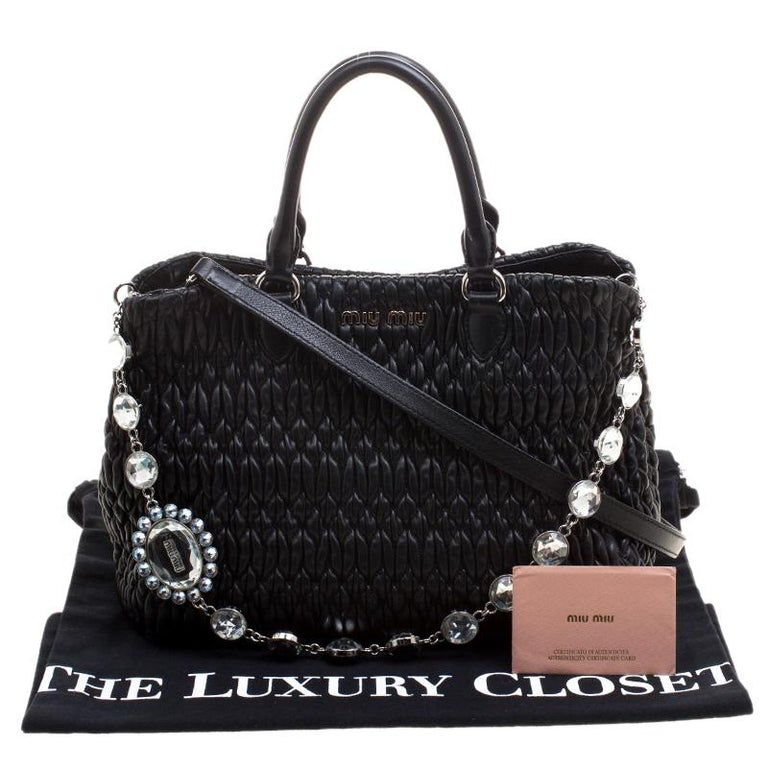 1489336580d1 Miu Miu Black Matelasse Nappa Leather Crystal Tote For Sale at 1stdibs