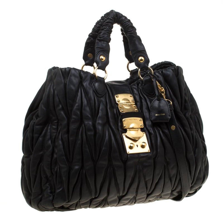 6369fb1d8e137 Miu Miu Black Matelasse Nappa Leather Hobo For Sale at 1stdibs