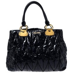 Miu Miu Black Matelasse Patent Leather Tote