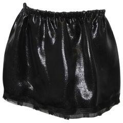 Miu Miu Black Metallic Gathered Waist Mini Skirt