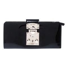 Miu Miu Black Patent Leather Clasp Lock Wallet