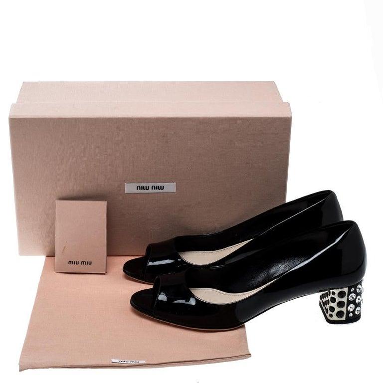635b1f697085 Miu Miu Black Patent Leather Crystal Block Heel Open Toe Pumps Size ...