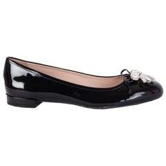 MIU MIU black patent leather CRYSTAL EMBELLISHED Ballet Flats Shoes 37