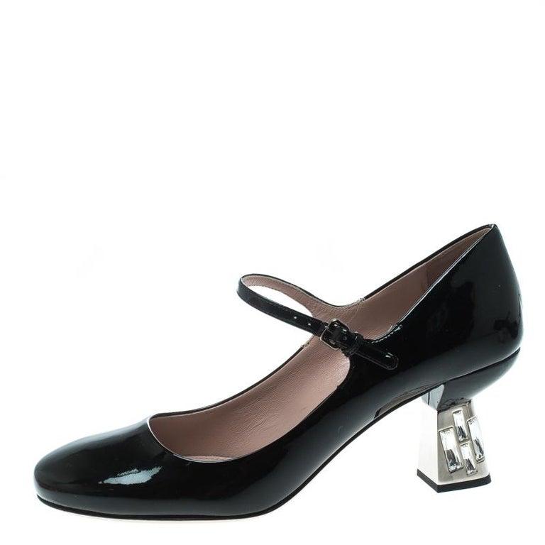 Miu Miu Black Patent Leather Crystal Embellished Heel Mary