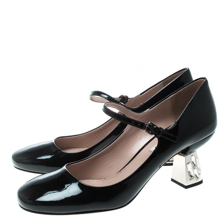 78ae6c351e Miu Miu Black Patent Leather Crystal Embellished Heel Mary Jane Pumps Size  39 For Sale 2