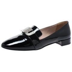 Miu Miu Black Patent Leather Crystal Embellshed Logo Ballet Flats Size 35