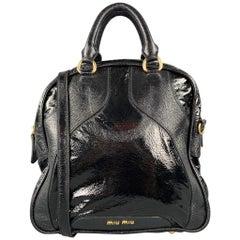 MIU MIU Black Patent Leather Shoulder Handbag