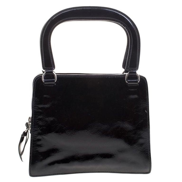 605ef8e2250d8 Miu Miu Black Patent Leather Tote For Sale at 1stdibs