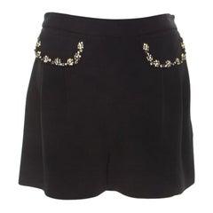 Miu Miu Black Pocket Flap Embellished High Waist Shorts S