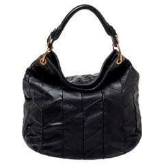 Miu Miu Black Quilted Leather Hobo