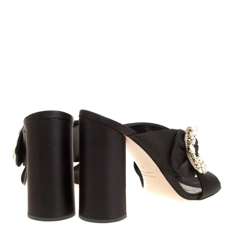 c8d25ffe2a Miu Miu Black Satin Crystal and Faux Pearl Embellished Brooch Peep Toe  Mules Siz In Excellent
