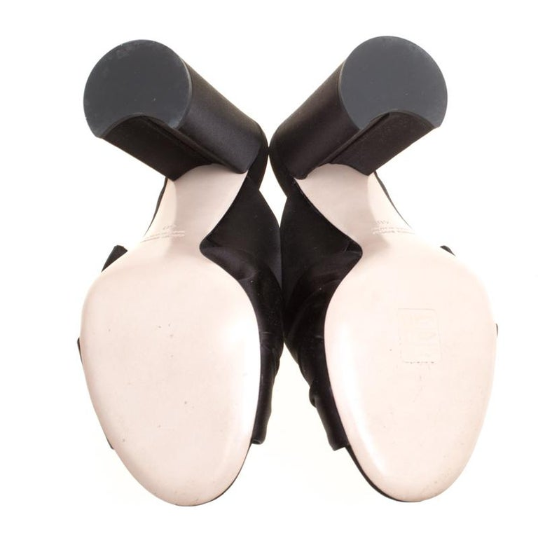 Women's Miu Miu Black Satin Crystal and Faux Pearl Embellished Brooch Peep Toe Mules Siz
