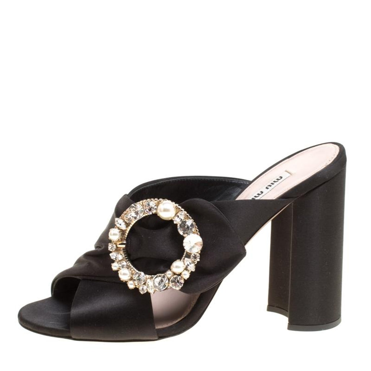 667e7eb918 Miu Miu Black Satin Crystal and Faux Pearl Embellished Brooch Peep Toe  Mules Siz For Sale at 1stdibs