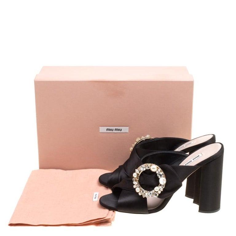 Miu Miu Black Satin Crystal and Faux Pearl Embellished Brooch Peep Toe Mules Siz 4