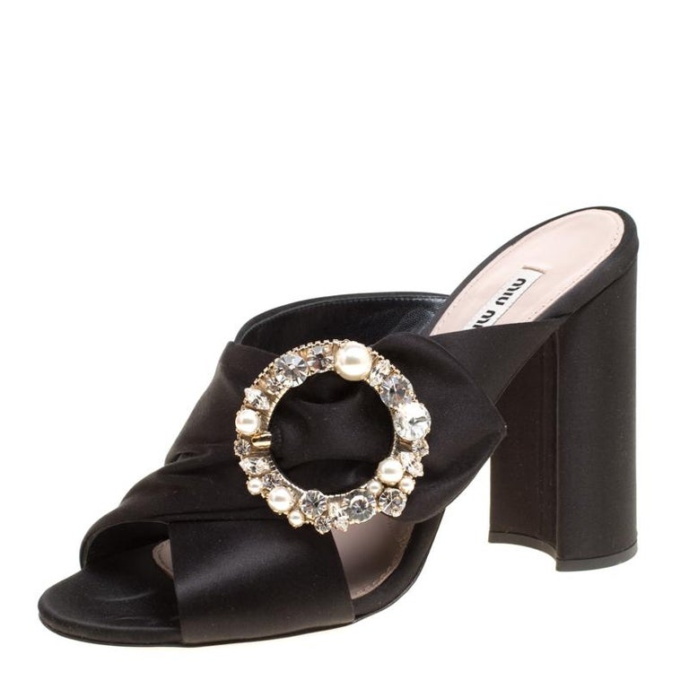 2d63af81cc Miu Miu Black Satin Crystal and Faux Pearl Embellished Brooch Peep Toe  Mules Siz For Sale