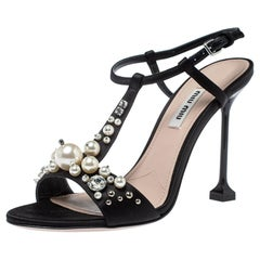 Miu Miu Black Satin Embellished T-strap Sandal Size 37