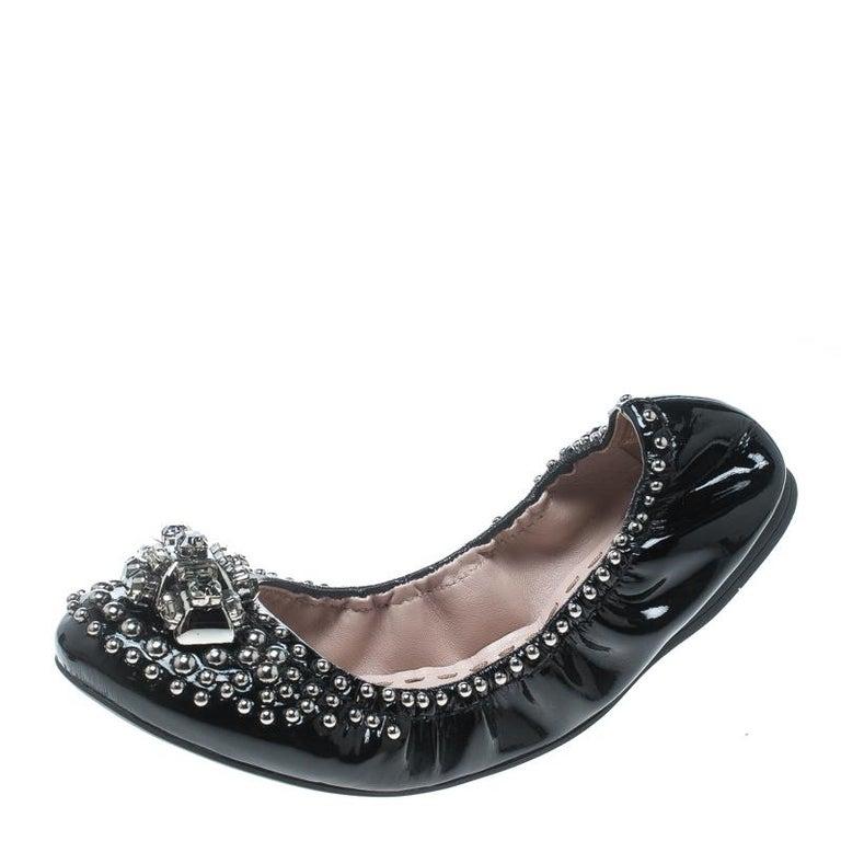 97a3d4d06c3 Miu Miu Black Studded Patent Leather Crystal Embellished Ballet Flats Size  37.5 For Sale