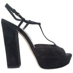 Miu Miu Black Suede Platform T-Strap Sandals
