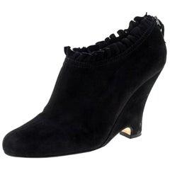 Miu Miu Black Suede Pleated Trim Ankle Boots Size 41