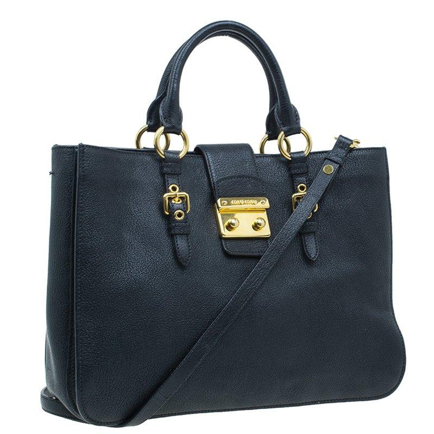 cac37a9d3cf30 Miu Miu Black Textured Leather Large Madras Tote Bag For Sale at 1stdibs