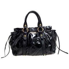 Miu Miu Black Vitello Lux Patent Leather Tote