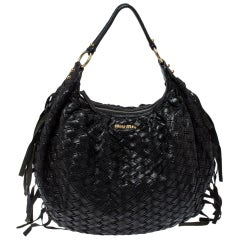 Miu Miu Black Woven Leather Fringe Hobo