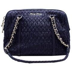 Miu Miu Blue Cloque Leather Shoulder Bag with Silver Hardware