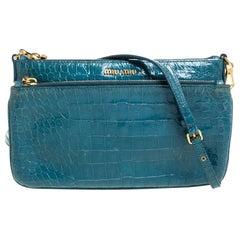 Miu Miu Blue Croc Embossed Leather Crossbody Bag