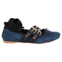MIU MIU blue DENIM BUCKLE Ballet Flats Shoes 38