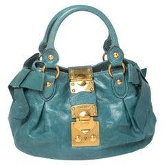 Miu Miu Blue Distressed Leather Bow Satchel