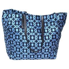 Miu Miu Blue Fabric  Shopper Bag