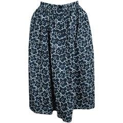 Miu Miu Blue Floral Printed Silk Gathered High Waist Midi Skirt S
