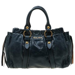 Miu Miu Blue Glaze Leather Tote