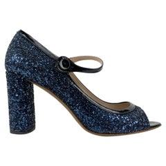 Miu Miu Blue Glitter Mary Jane Pumps Heels Shoes Size 39