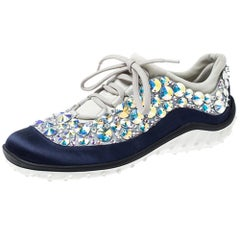 Miu Miu Blue/Grey Embellished Satin and Mesh Astro Sneakers Size 35
