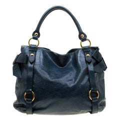 Miu Miu Blue Leather Bow Tote