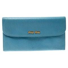 Miu Miu Blue Leather Madras Flap Wallet
