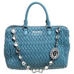 Miu Miu Blue Matelasse Nappa Leather Crystal Tote