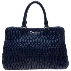 Miu Miu Blue Matelasse Nappa Leather Crystal Tote