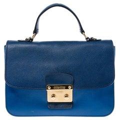 Miu Miu Blue/Navy Blue Leather Madras Shoulder Bag